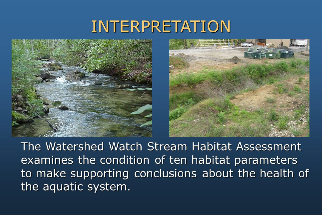 The Watershed Watch Stream Habitat Assessment examines the condition of ten habitat parameters to make supporting conclusions about the health of the aquatic system.