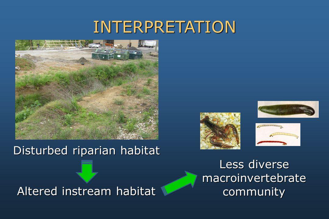 Disturbed riparian habitat Altered instream habitat INTERPRETATION Less diverse macroinvertebrate community