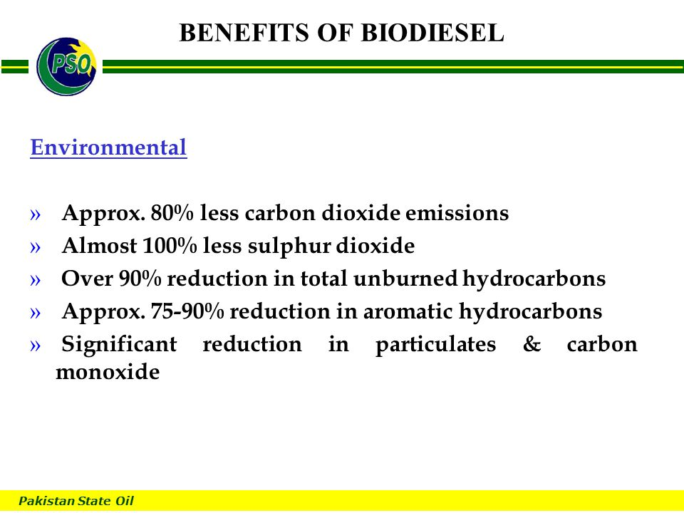 Pakistan State Oil B BENEFITS OF BIODIESEL Environmental » Approx.