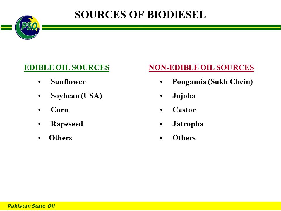 Pakistan State Oil B SOURCES OF BIODIESEL EDIBLE OIL SOURCES Sunflower Soybean (USA) Corn Rapeseed Others NON-EDIBLE OIL SOURCES Pongamia (Sukh Chein) Jojoba Castor Jatropha Others