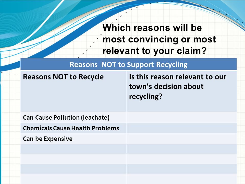 Reasons NOT to Support Recycling Reasons NOT to Recycle Is this reason relevant to our town's decision about recycling.