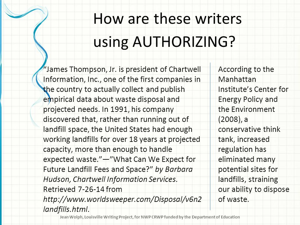 How are these writers using AUTHORIZING. James Thompson, Jr.