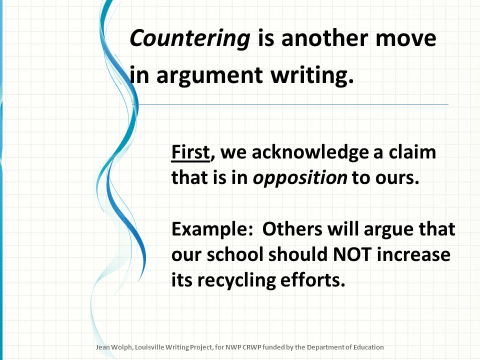 Countering Then, we identify evidence that our opponents might use to support their claim.
