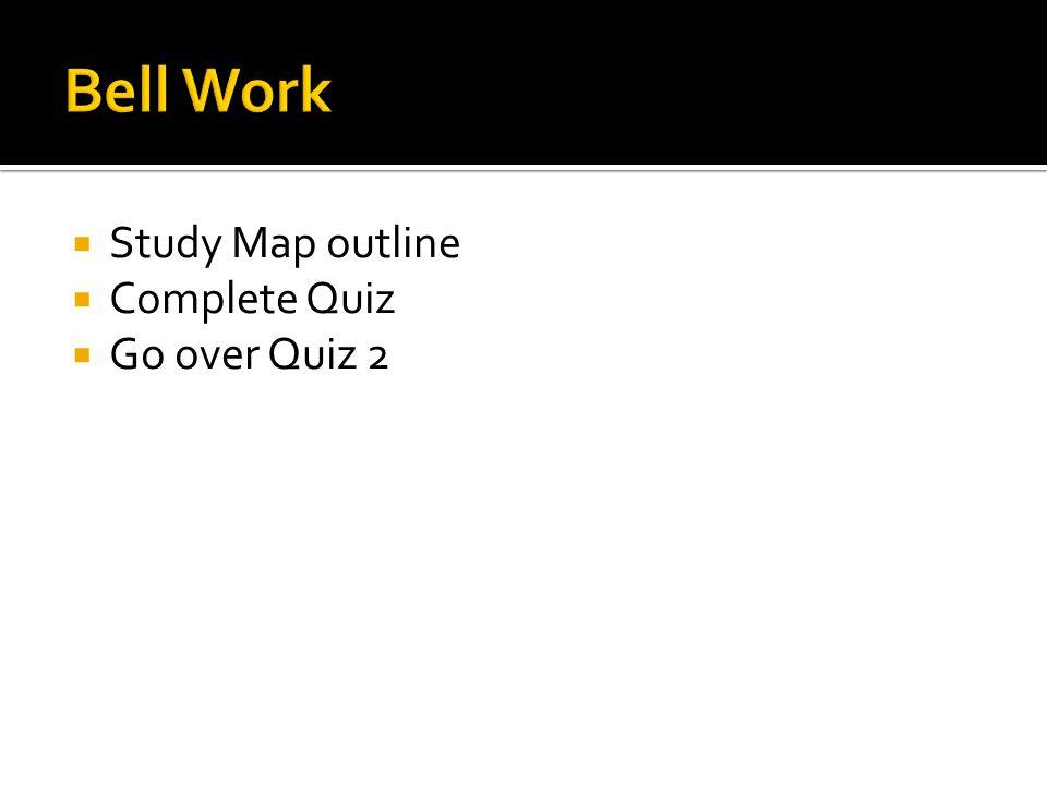  Study Map outline  Complete Quiz  Go over Quiz 2