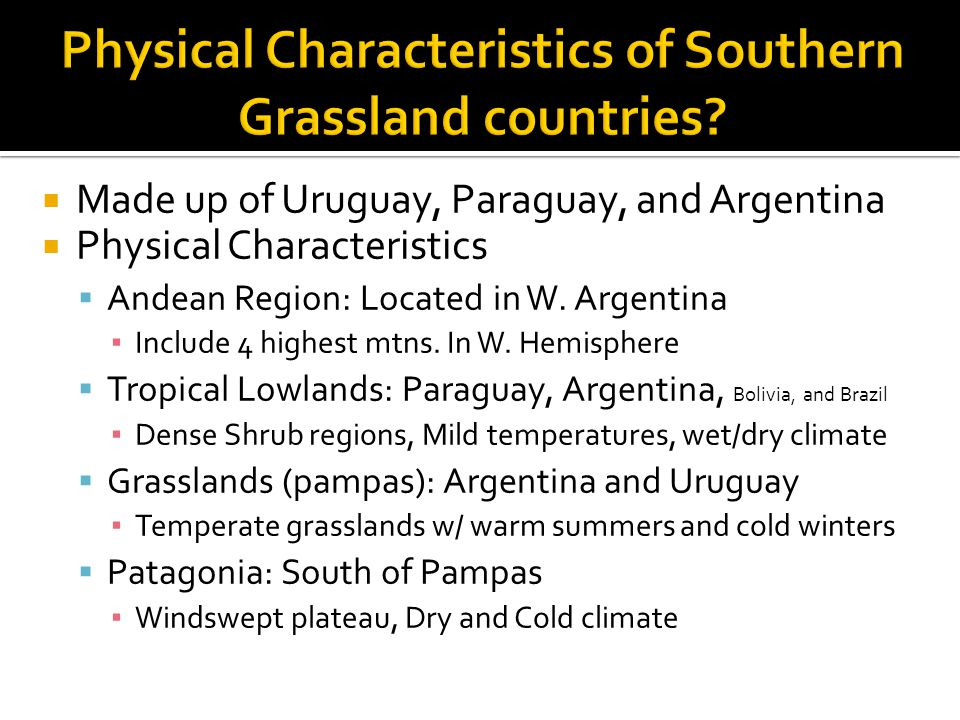  Made up of Uruguay, Paraguay, and Argentina  Physical Characteristics  Andean Region: Located in W. Argentina ▪ Include 4 highest mtns. In W. Hemi