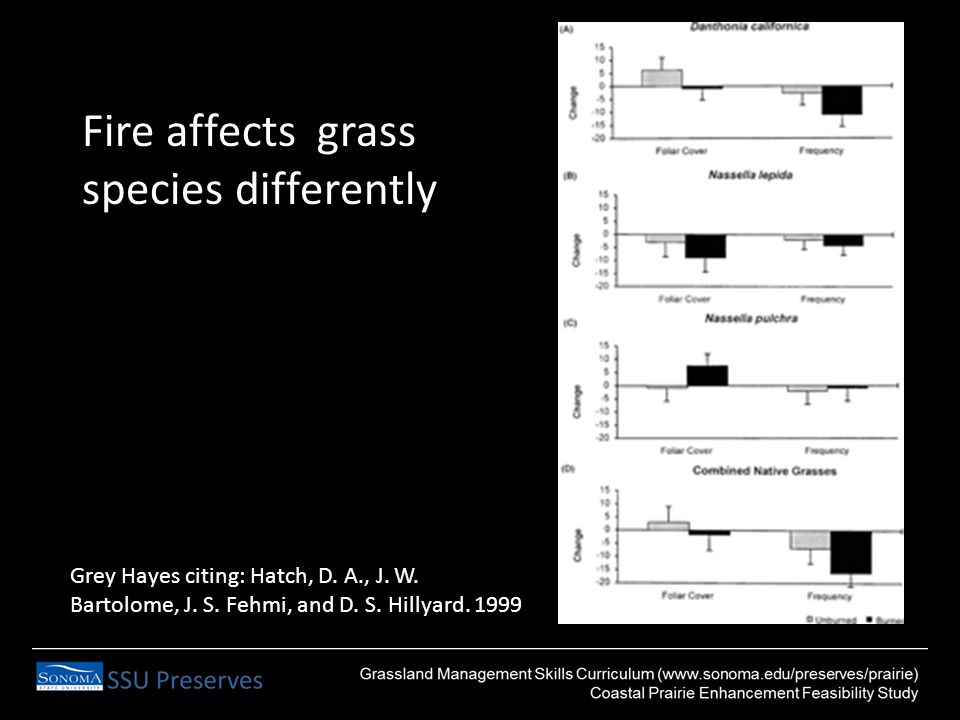 Fire affects grass species differently Grey Hayes citing: Hatch, D.