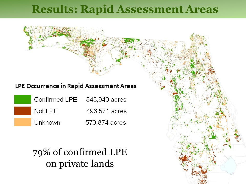 Results: Rapid Assessment Areas 79% of confirmed LPE on private lands LPE Occurrence in Rapid Assessment Areas
