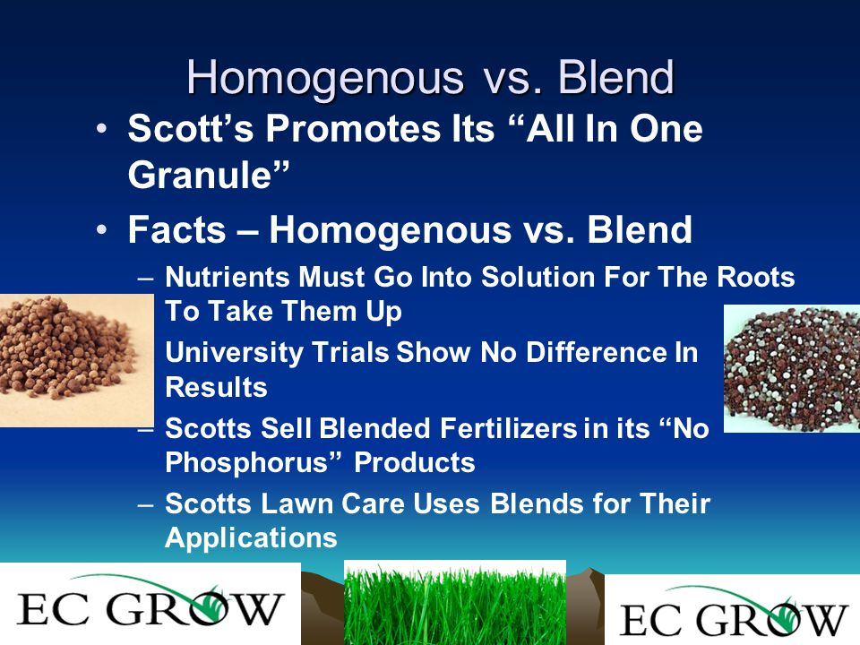 Homogenous vs. Blend Scott's Promotes Its All In One Granule Facts – Homogenous vs.
