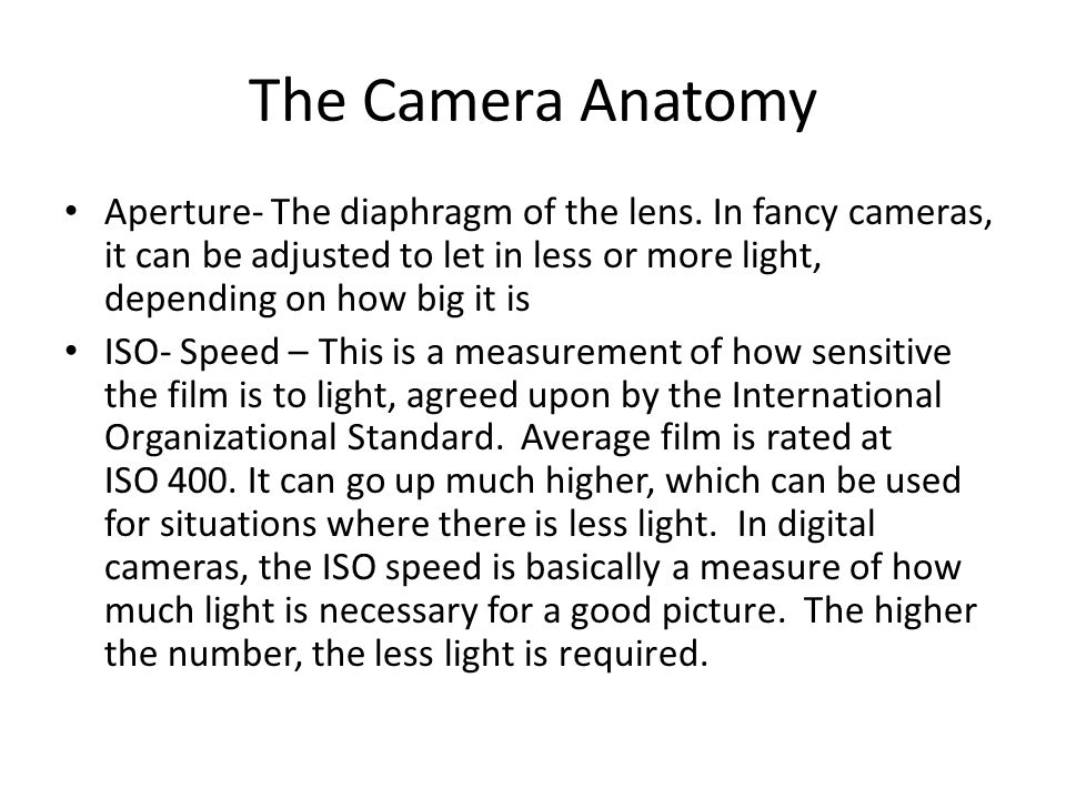 The Camera Anatomy Aperture- The diaphragm of the lens.