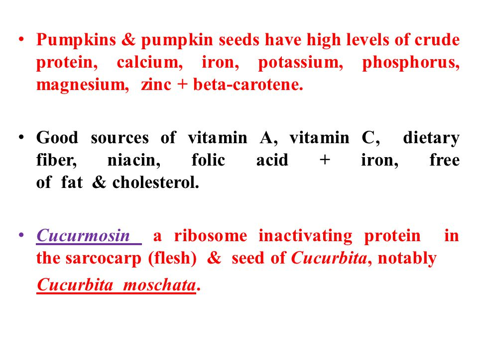 Pumpkins & pumpkin seeds have high levels of crude protein, calcium, iron, potassium, phosphorus, magnesium, zinc + beta-carotene.