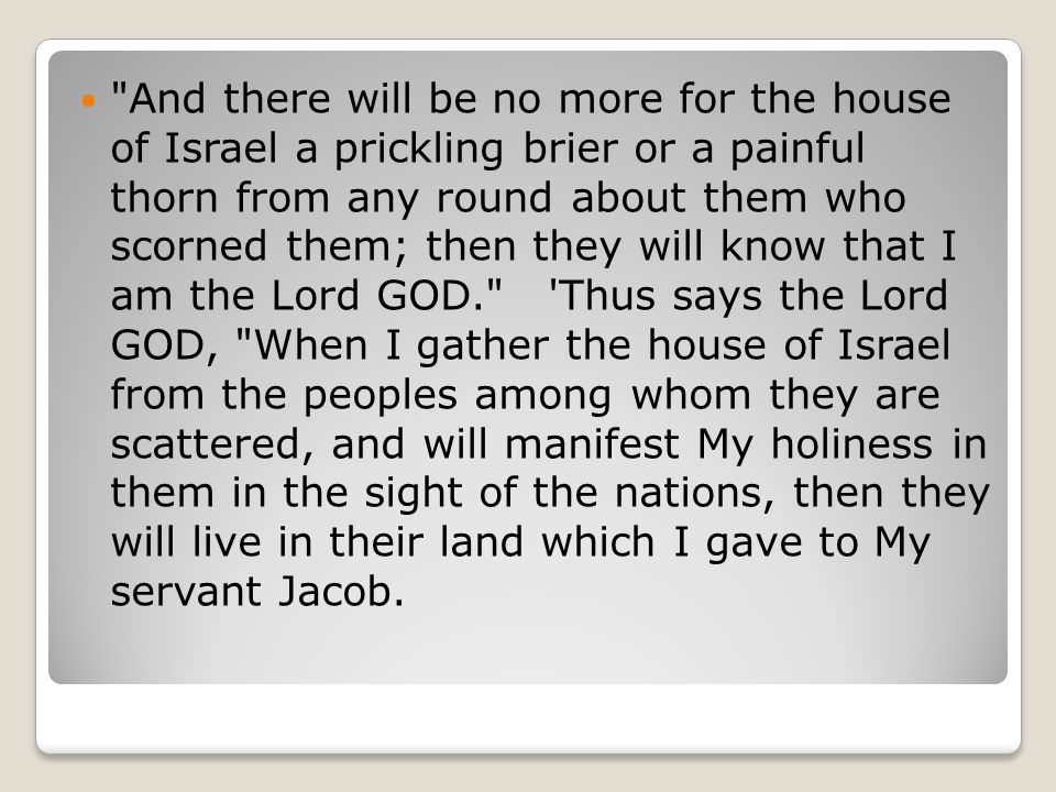 And there will be no more for the house of Israel a prickling brier or a painful thorn from any round about them who scorned them; then they will know that I am the Lord GOD. Thus says the Lord GOD, When I gather the house of Israel from the peoples among whom they are scattered, and will manifest My holiness in them in the sight of the nations, then they will live in their land which I gave to My servant Jacob.