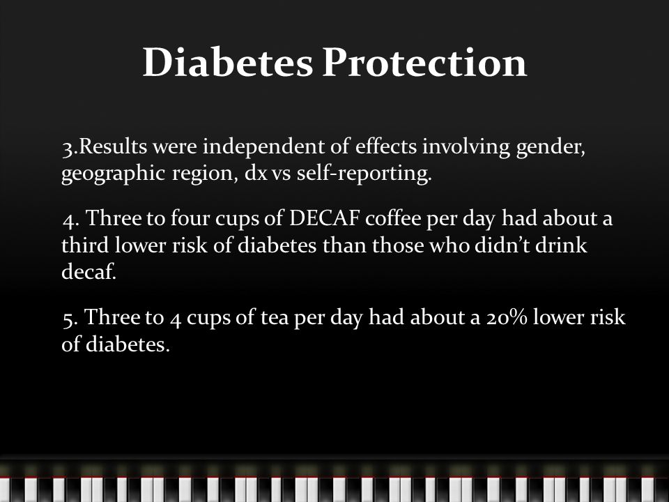 Diabetes Protection 3.Results were independent of effects involving gender, geographic region, dx vs self-reporting.