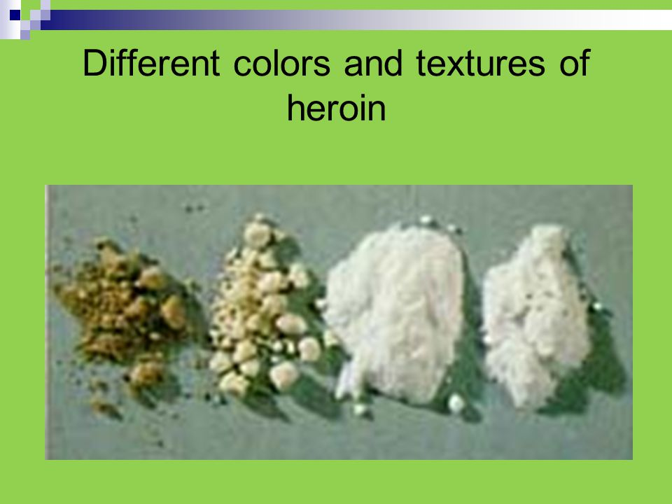 Different colors and textures of heroin