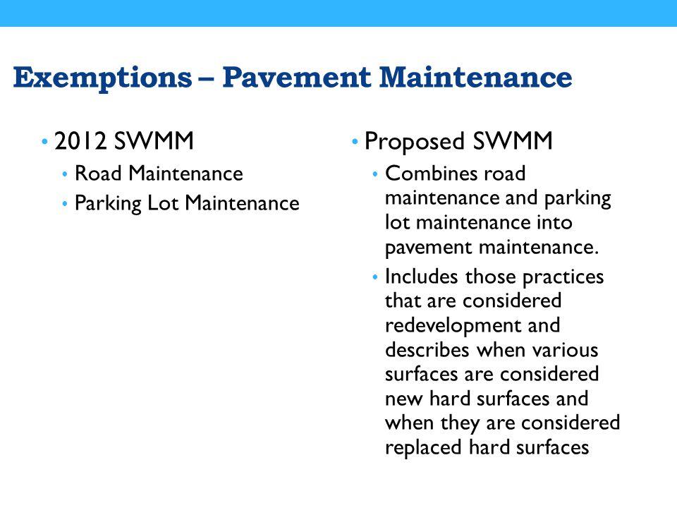 Exemptions – Pavement Maintenance 2012 SWMM Road Maintenance Parking Lot Maintenance Proposed SWMM Combines road maintenance and parking lot maintenance into pavement maintenance.