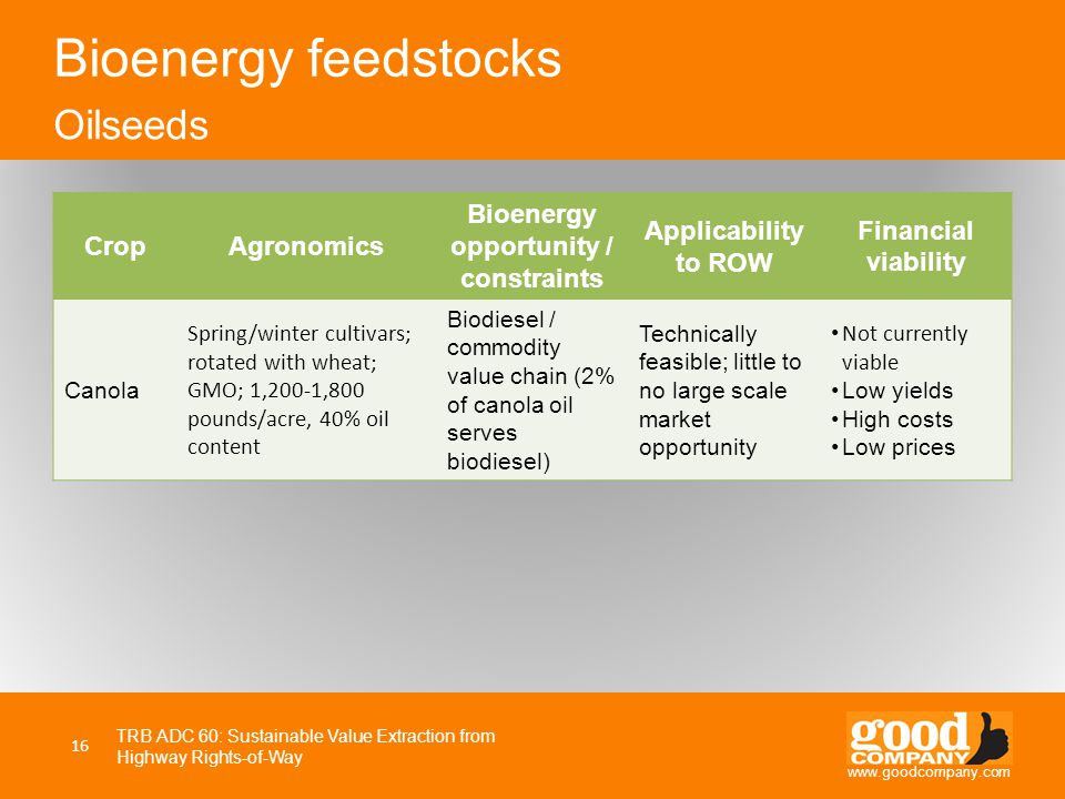 www.goodcompany.com CropAgronomics Bioenergy opportunity / constraints Applicability to ROW Financial viability Canola Spring/winter cultivars; rotate