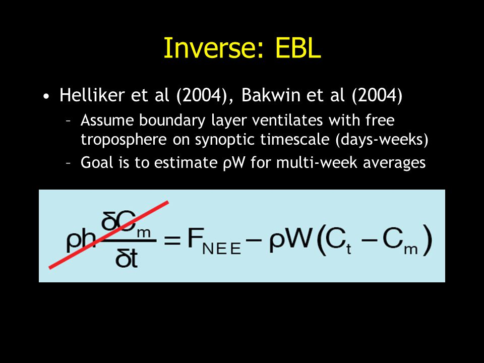 Inverse: EBL Helliker et al (2004), Bakwin et al (2004) –Assume boundary layer ventilates with free troposphere on synoptic timescale (days-weeks) –Goal is to estimate ρW for multi-week averages