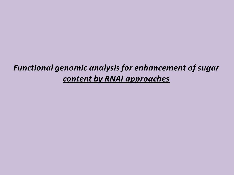 Functional genomic analysis for enhancement of sugar content by RNAi approaches