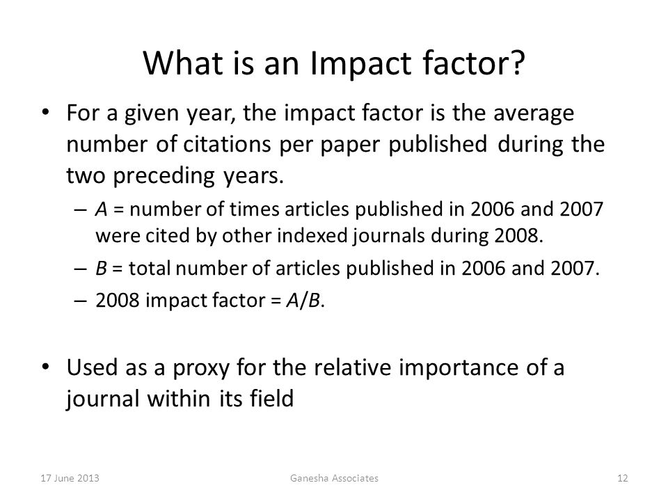 What is an Impact factor.