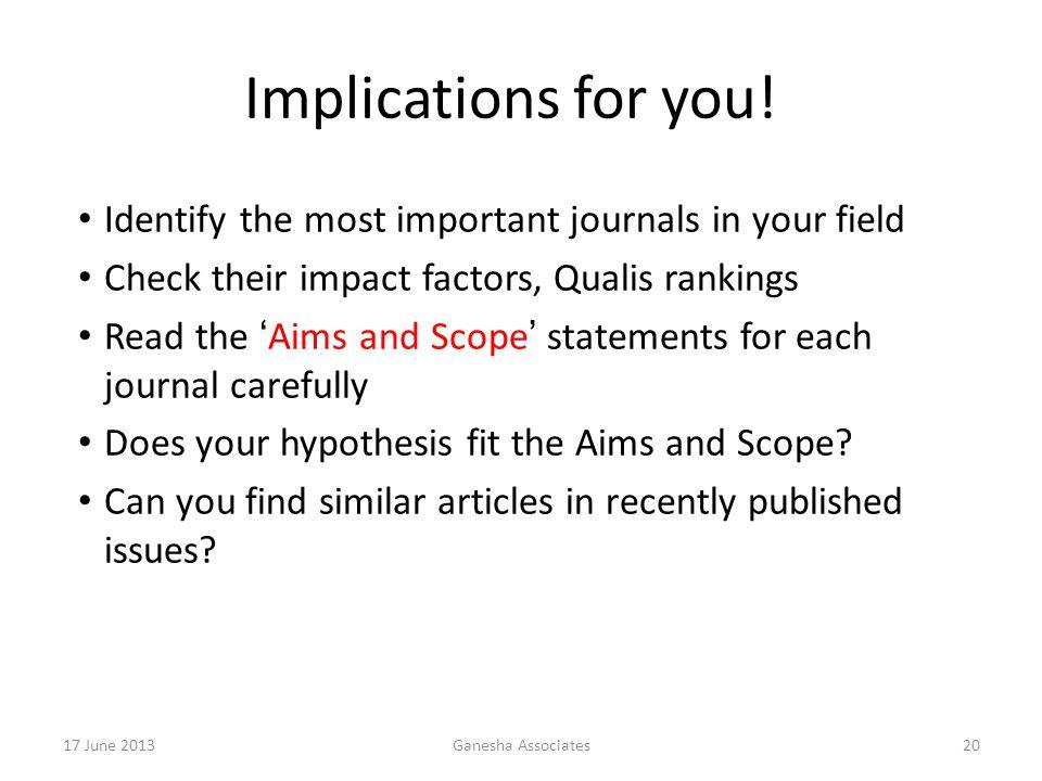 17 June 2013Ganesha Associates20 Implications for you.