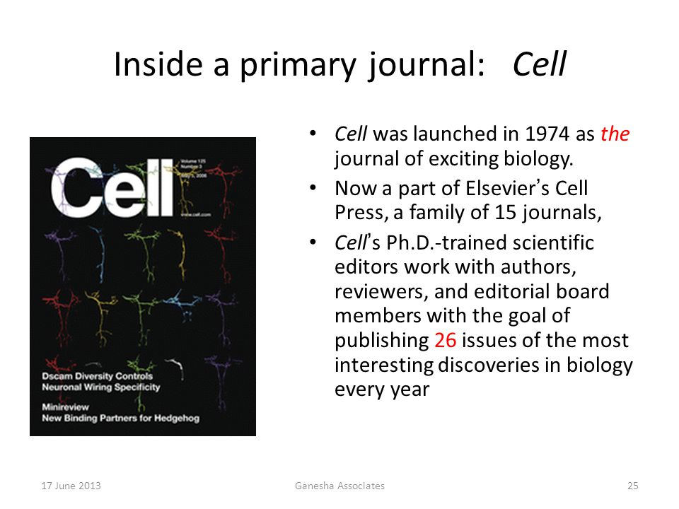 17 June 2013Ganesha Associates25 Inside a primary journal: Cell Cell was launched in 1974 as the journal of exciting biology.