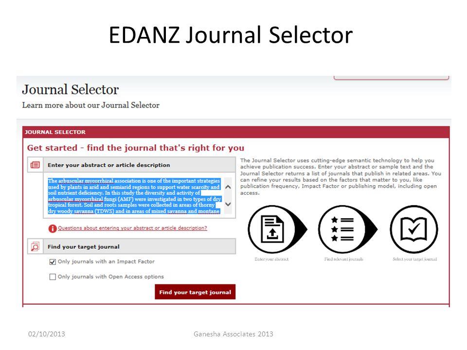 02/10/2013Ganesha Associates 2013 EDANZ Journal Selector