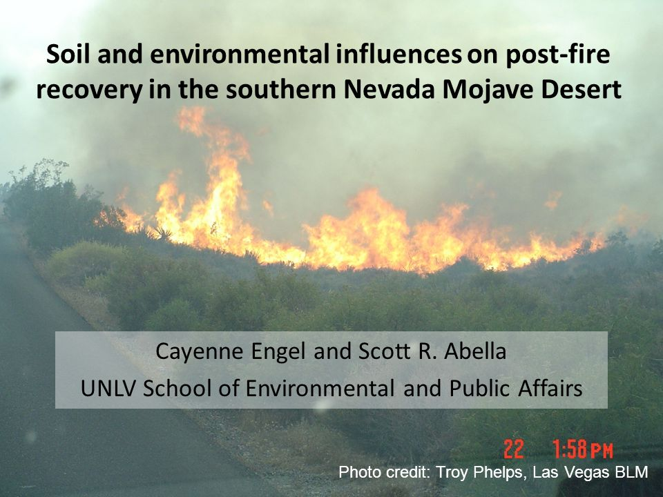 Soil and environmental influences on post-fire recovery in the southern Nevada Mojave Desert Cayenne Engel and Scott R. Abella UNLV School of Environm