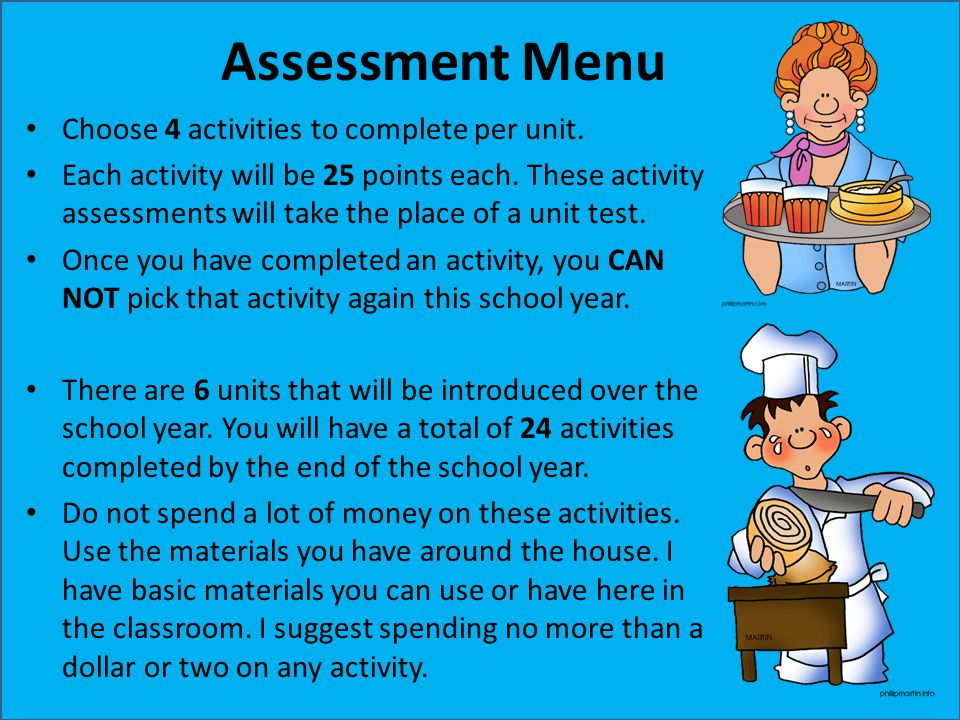 Assessment Menu Choose 4 activities to complete per unit. Each activity will be 25 points each. These activity assessments will take the place of a un