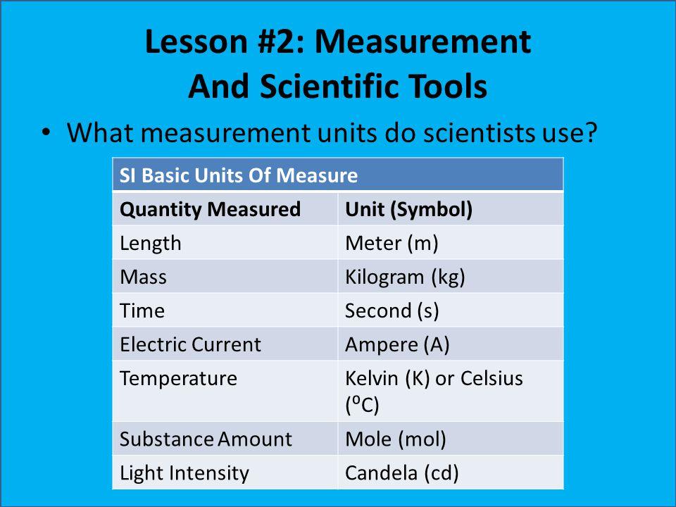 Lesson #2: Measurement And Scientific Tools What measurement units do scientists use? SI Basic Units Of Measure Quantity MeasuredUnit (Symbol) LengthM