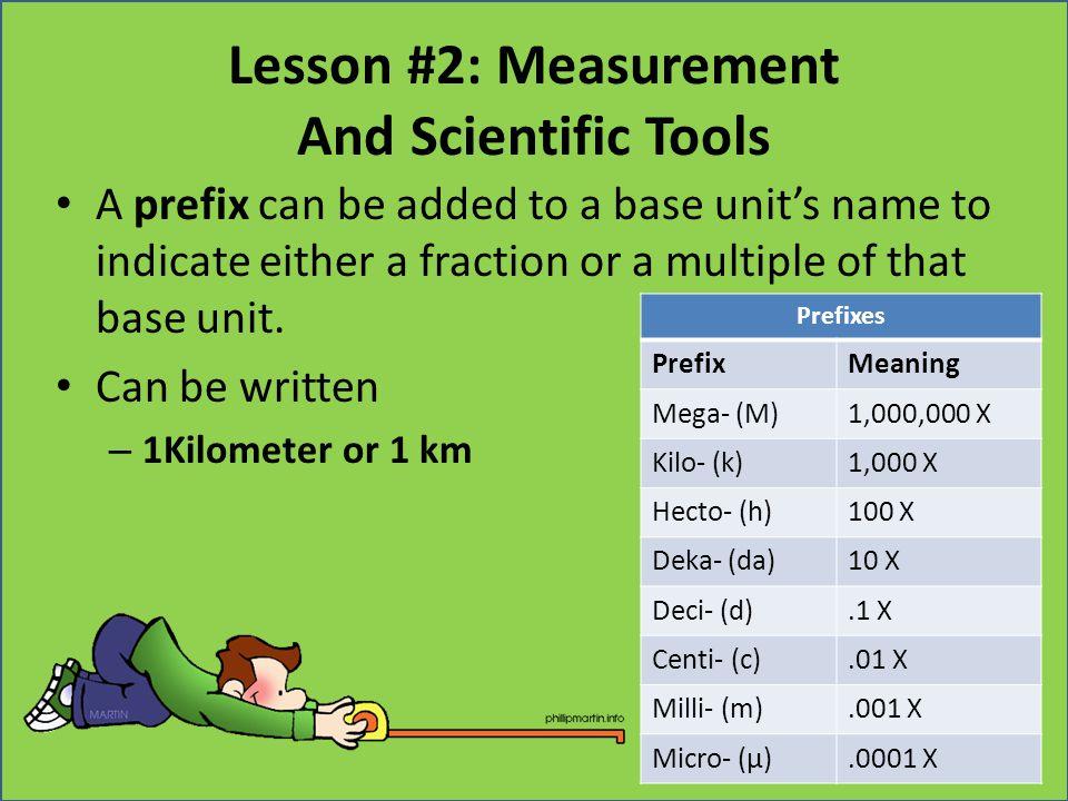 Lesson #2: Measurement And Scientific Tools Prefixes PrefixMeaning Mega- (M)1,000,000 X Kilo- (k)1,000 X Hecto- (h)100 X Deka- (da)10 X Deci- (d).1 X