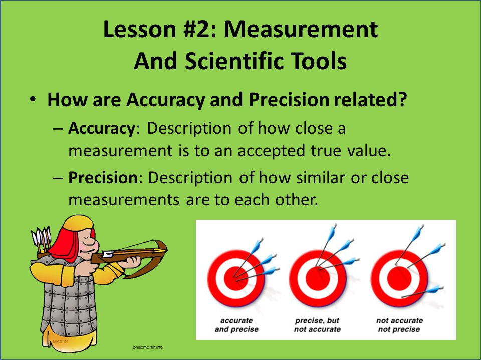 Lesson #2: Measurement And Scientific Tools How are Accuracy and Precision related? – Accuracy: Description of how close a measurement is to an accept
