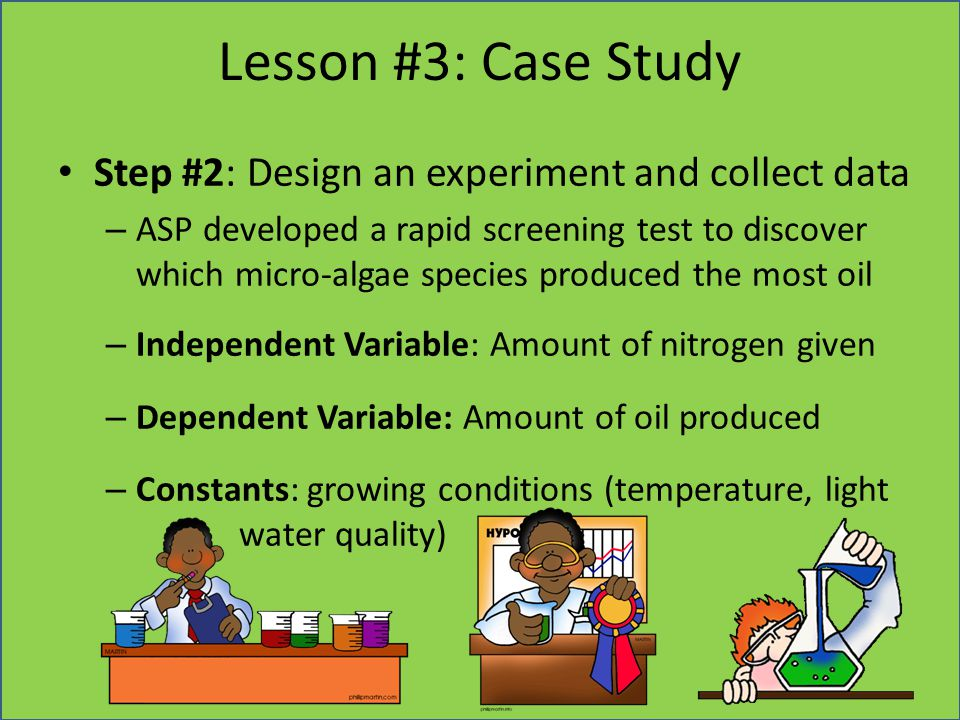 Lesson #3: Case Study Step #2: Design an experiment and collect data – ASP developed a rapid screening test to discover which micro-algae species prod