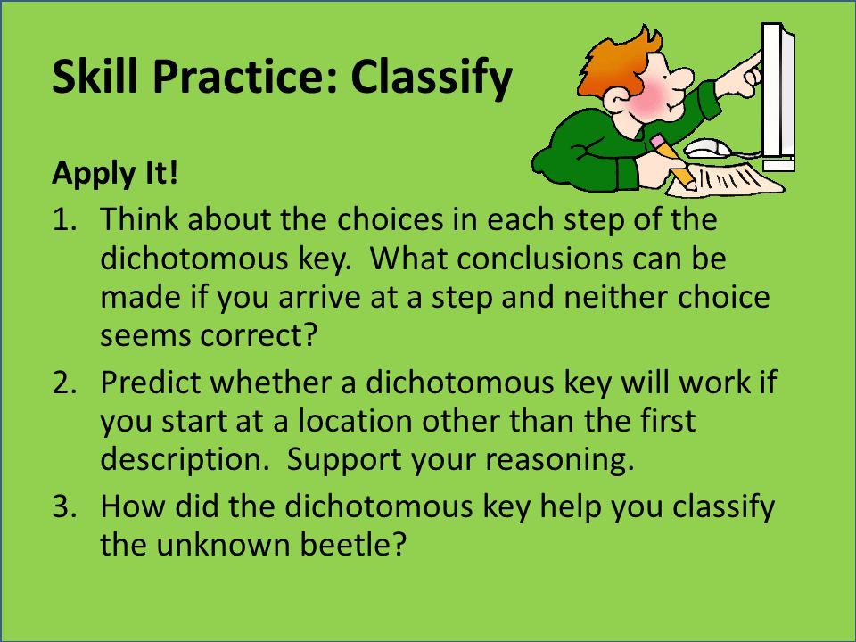 Skill Practice: Classify Apply It! 1.Think about the choices in each step of the dichotomous key. What conclusions can be made if you arrive at a step