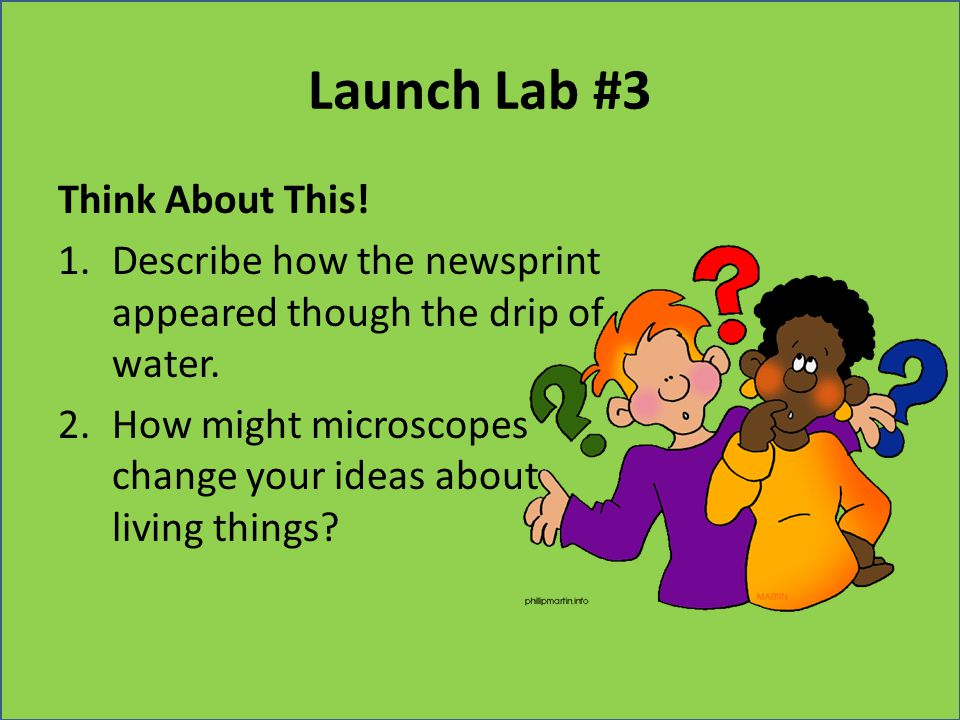 Launch Lab #3 Think About This! 1.Describe how the newsprint appeared though the drip of water. 2.How might microscopes change your ideas about living