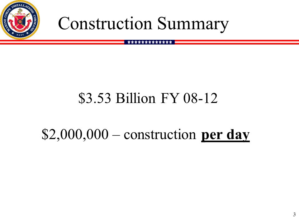 3 Construction Summary $3.53 Billion FY 08-12 $2,000,000 – construction per day