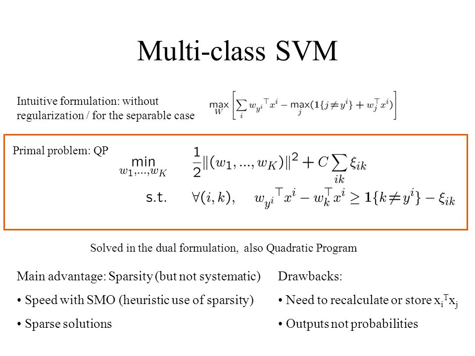 Multi-class SVM Intuitive formulation: without regularization / for the separable case Primal problem: QP Solved in the dual formulation, also Quadratic Program Main advantage: Sparsity (but not systematic) Speed with SMO (heuristic use of sparsity) Sparse solutions Drawbacks: Need to recalculate or store x i T x j Outputs not probabilities