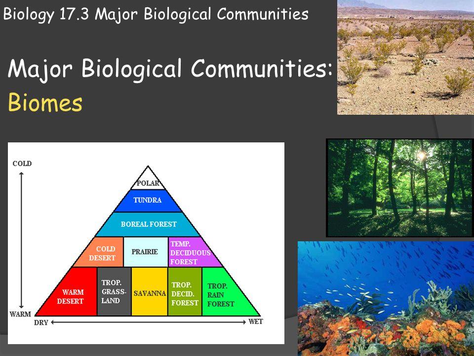 Biology 17.3 Major Biological Communities Major Biological Communities: Biomes