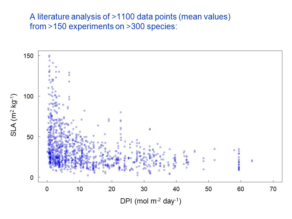 A literature analysis of >1100 data points (mean values) from >150 experiments on >300 species: DPI (mol m -2 day -1 ) SLA (m 2 kg -1 )