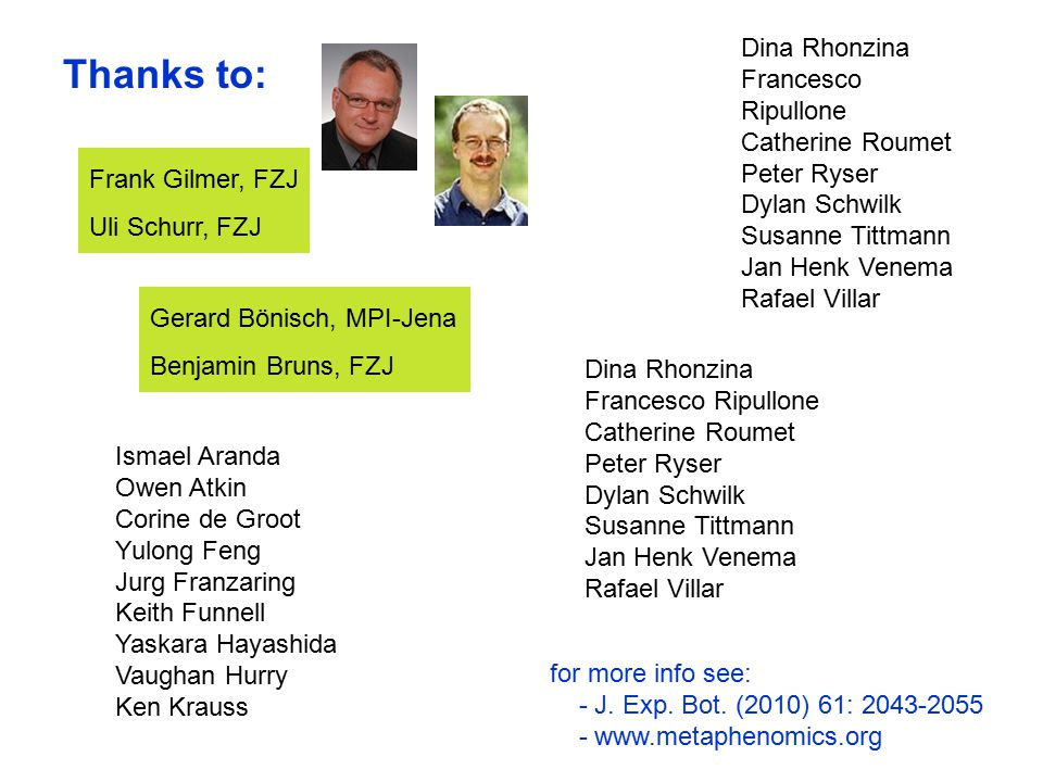 Frank Gilmer, FZJ Uli Schurr, FZJ Thanks to: for more info see: - J. Exp. Bot. (2010) 61: 2043-2055 - www.metaphenomics.org Ismael Aranda Owen Atkin C