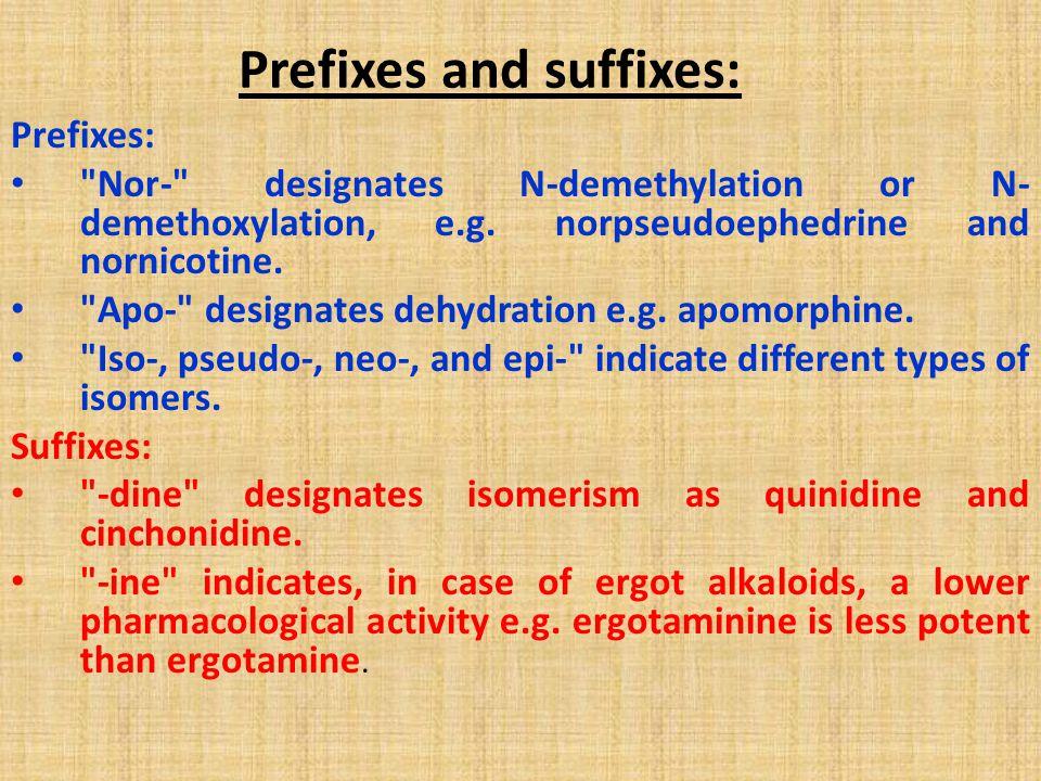 Prefixes and suffixes: Prefixes: