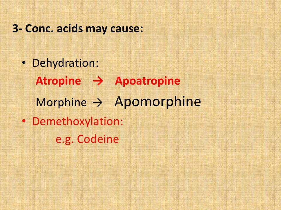 3- Conc. acids may cause: Dehydration: Atropine → Apoatropine Morphine → Apomorphine Demethoxylation: e.g. Codeine