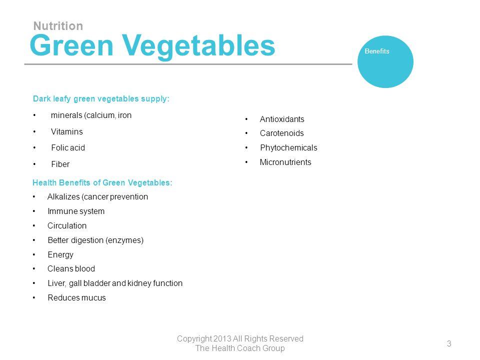 Green Vegetables Dark leafy green vegetables supply: minerals (calcium, iron Vitamins Folic acid Fiber Nutrition Copyright 2013 All Rights Reserved Th