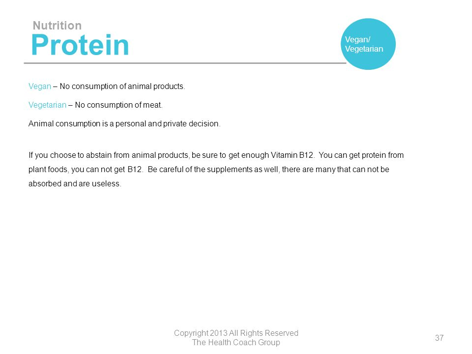 Protein Nutrition Vegan/ Vegetarian Copyright 2013 All Rights Reserved The Health Coach Group 37 Vegan – No consumption of animal products. Vegetarian