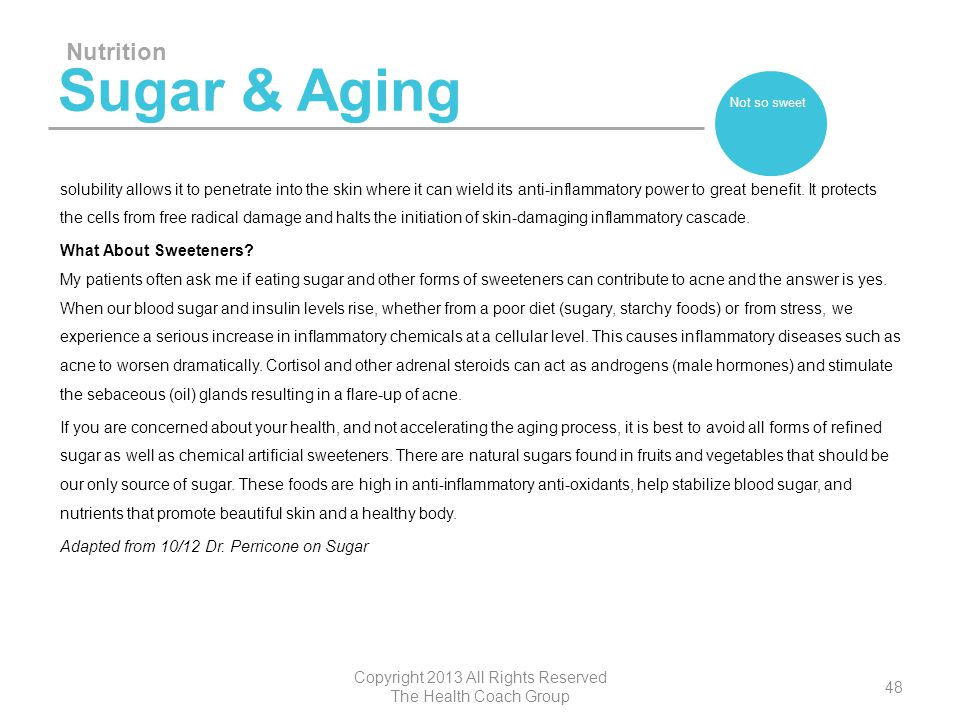 Sugar & Aging solubility allows it to penetrate into the skin where it can wield its anti-inflammatory power to great benefit. It protects the cells f