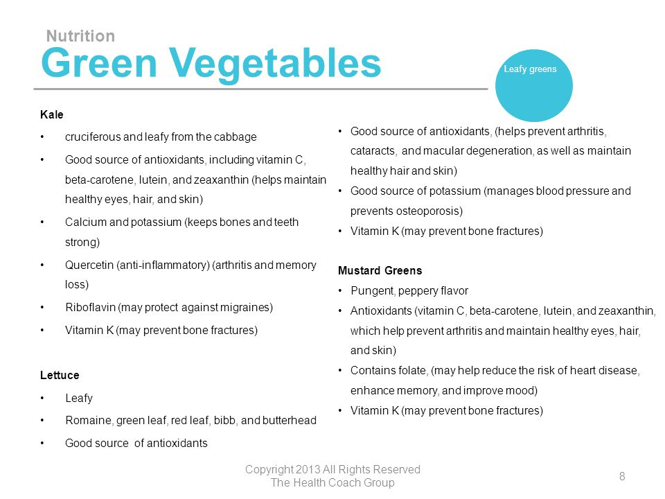 Green Vegetables Kale cruciferous and leafy from the cabbage Good source of antioxidants, including vitamin C, beta-carotene, lutein, and zeaxanthin (