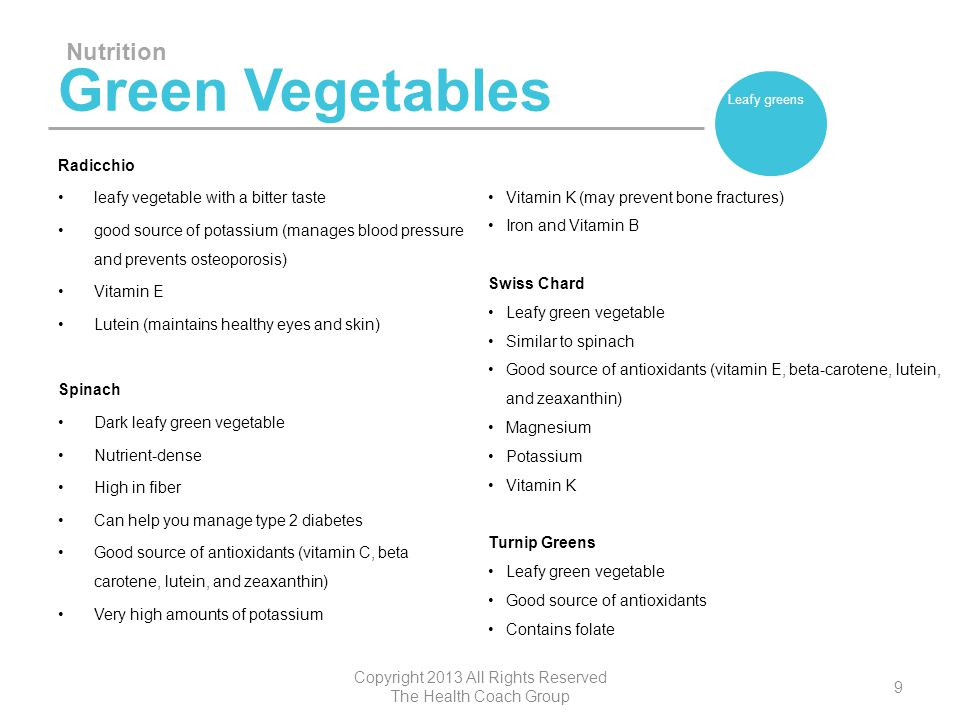 Green Vegetables Watercress Leafy green vegetable Peppery flavor Good source of beta-carotene, lutein, and zeaxanthin Vitamin K Nutrition Copyright 2013 All Rights Reserved The Health Coach Group 10 Leafy greens