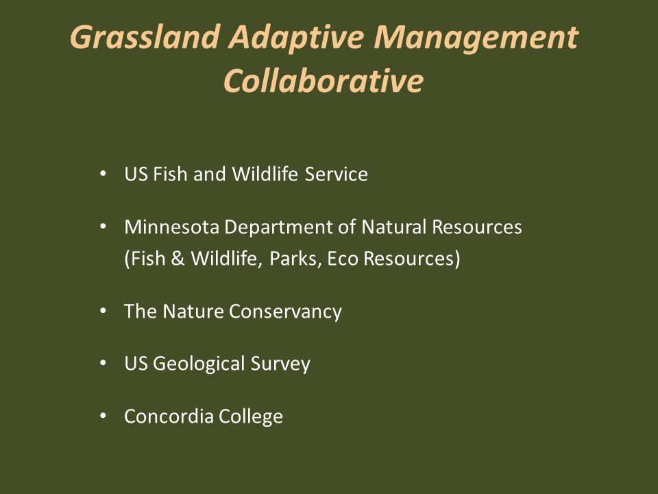 Grassland Adaptive Management Collaborative US Fish and Wildlife Service Minnesota Department of Natural Resources (Fish & Wildlife, Parks, Eco Resources) The Nature Conservancy US Geological Survey Concordia College