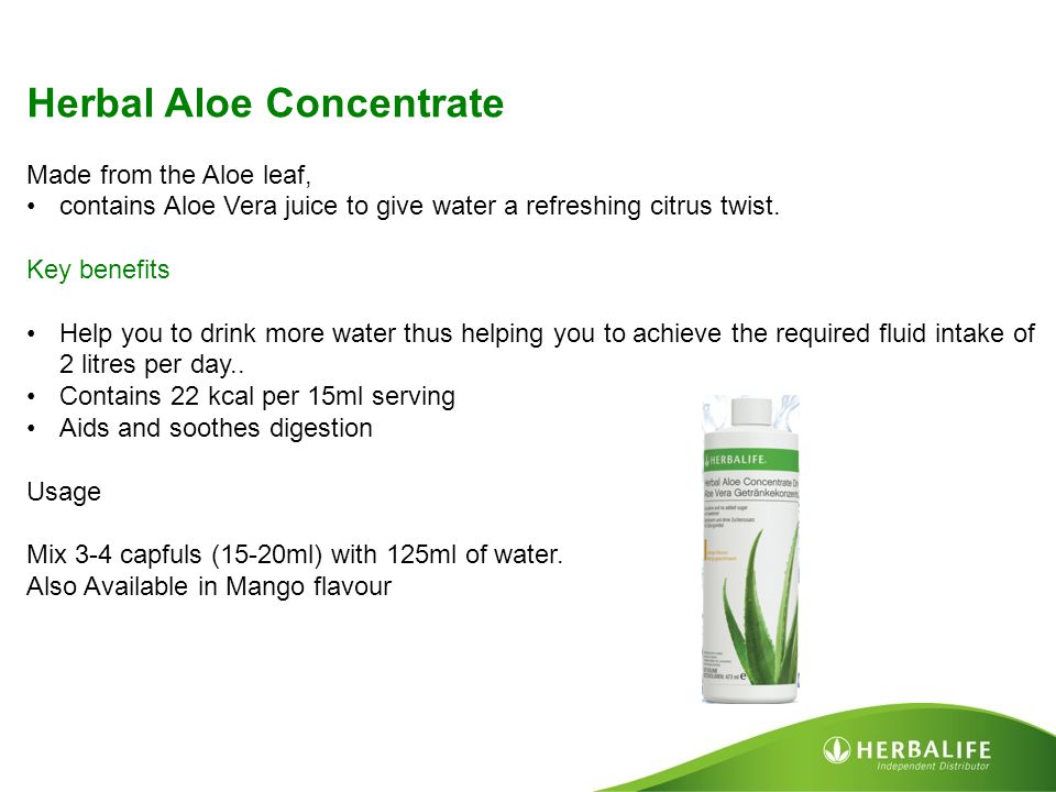Herbal Aloe Concentrate Made from the Aloe leaf, contains Aloe Vera juice to give water a refreshing citrus twist. Key benefits Help you to drink more