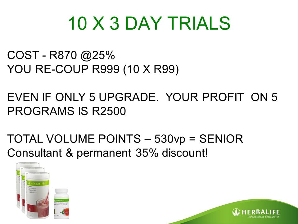 10 X 3 DAY TRIALS COST - R870 @25% YOU RE-COUP R999 (10 X R99) EVEN IF ONLY 5 UPGRADE. YOUR PROFIT ON 5 PROGRAMS IS R2500 TOTAL VOLUME POINTS – 530vp
