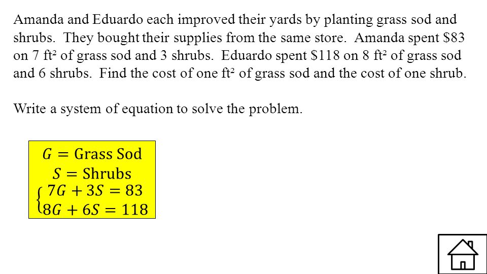 Amanda and Eduardo each improved their yards by planting grass sod and shrubs. They bought their supplies from the same store. Amanda spent $83 on 7 f