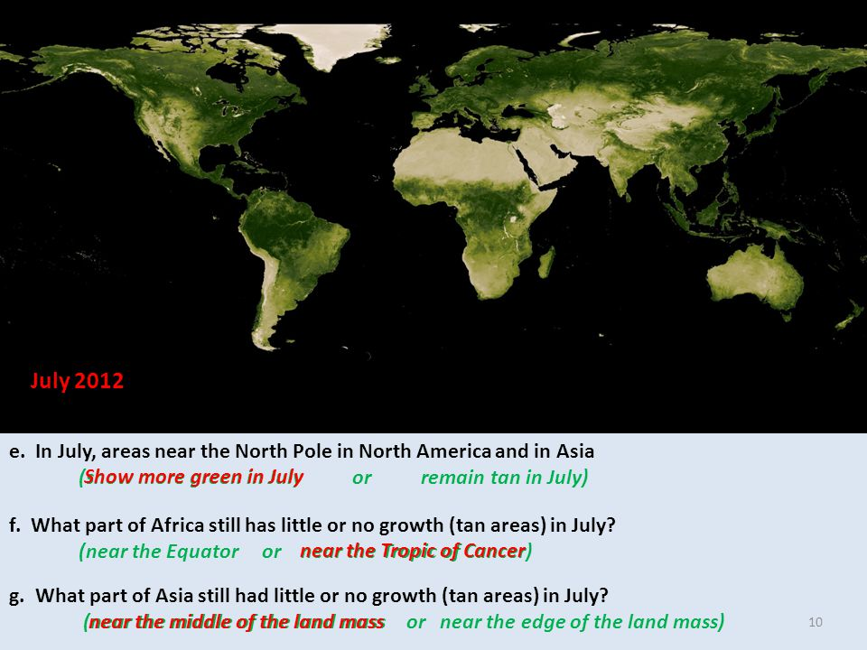 e. In July, areas near the North Pole in North America and in Asia (show more green in July or remain tan in July) f. What part of Africa still has li